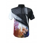 Sublimated Zip-up Collar Knitted Short Sleeve T-Shirt