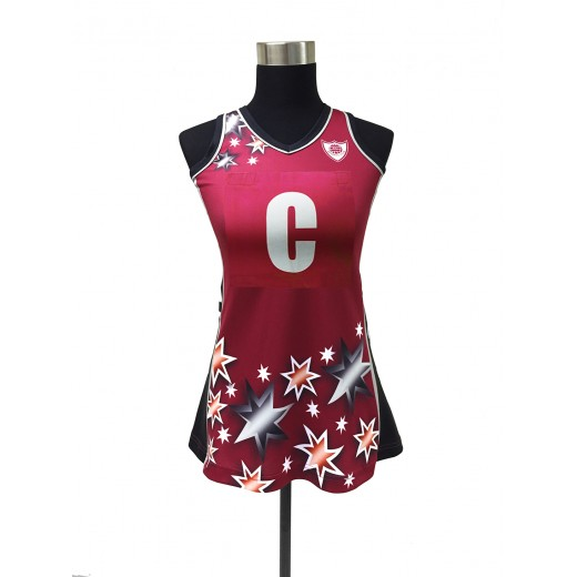 Customised Sublimated Bamboo Charcoal Netball A-Line Dress