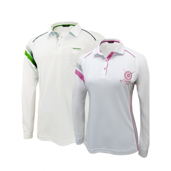 Golf couple set 2 bamboo charcoal longsleeve polo shirts for Couple polo shirts online